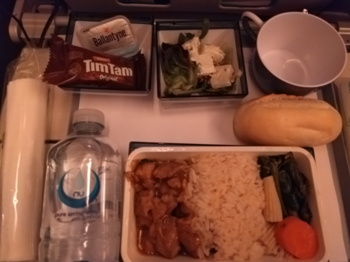Dinner service aboard China Airlines