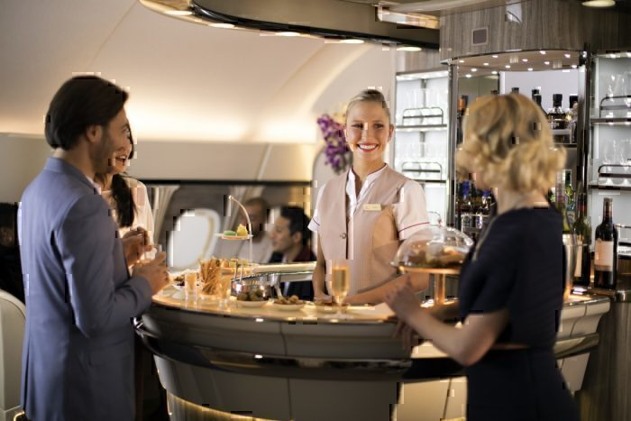 An Emirates Airbus A380 bar/lounge