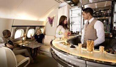 Emirates' Airbus A380 bar and lounge area