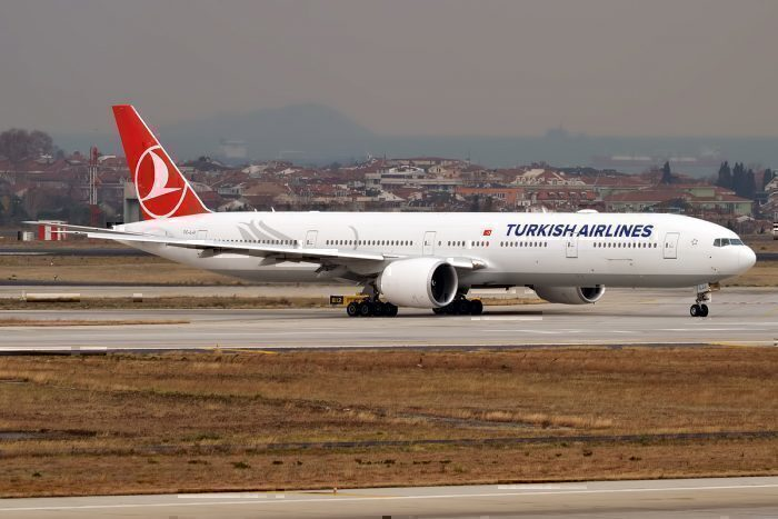 Turkish Airlines jet on taxiway