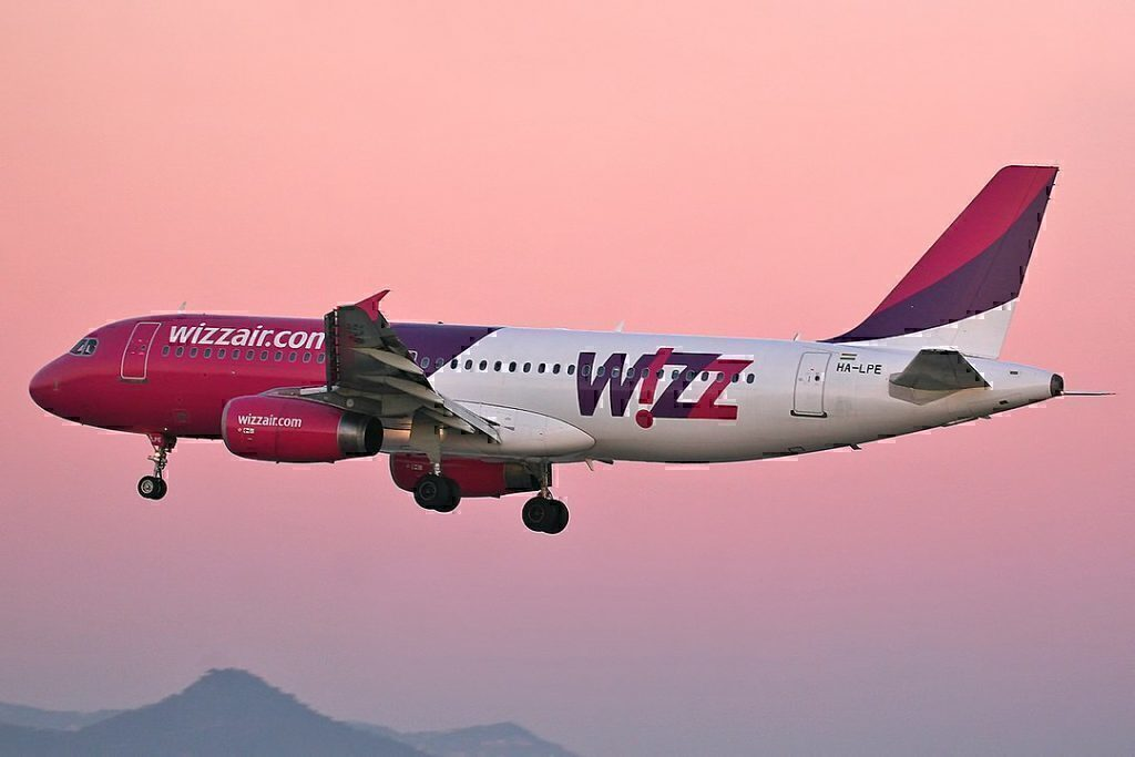 Wizz Air takeoff at sunset