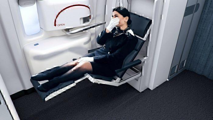 Collins Zero-G flight attendant seat