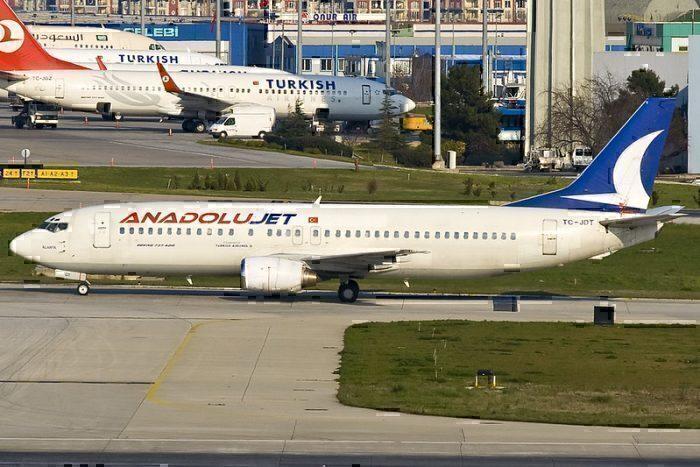 AnadoluJet Air craft on runway turkish airlines