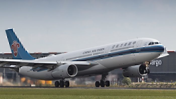 China Southern Airlines A330 rocketing out of Amsterdam for Guangzhou