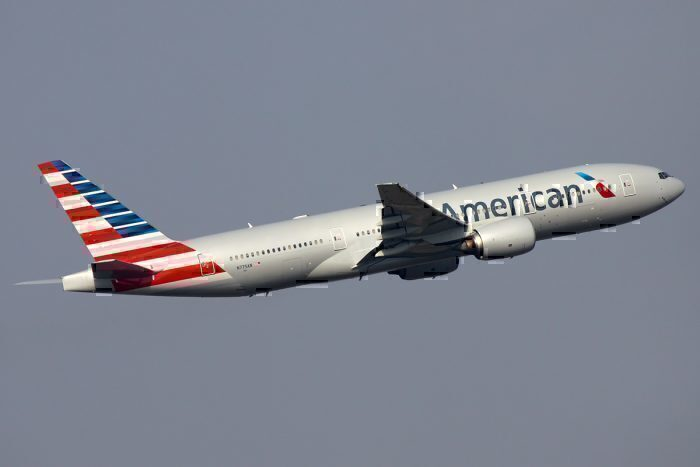 American Airlines Boeing 777-223ER taking off from Pudong Airport