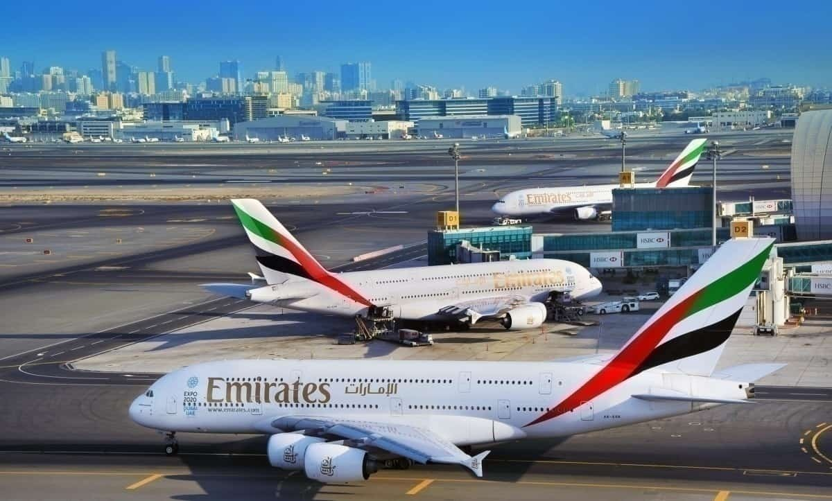 Emirates A380 aircraft at airport