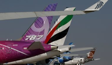 Getty Boeing and Airbus tails