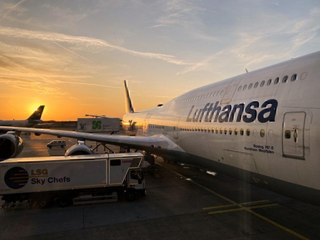 Lufthansa plane sunset getty images