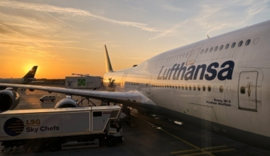 Lufthansa plane sunset getty images