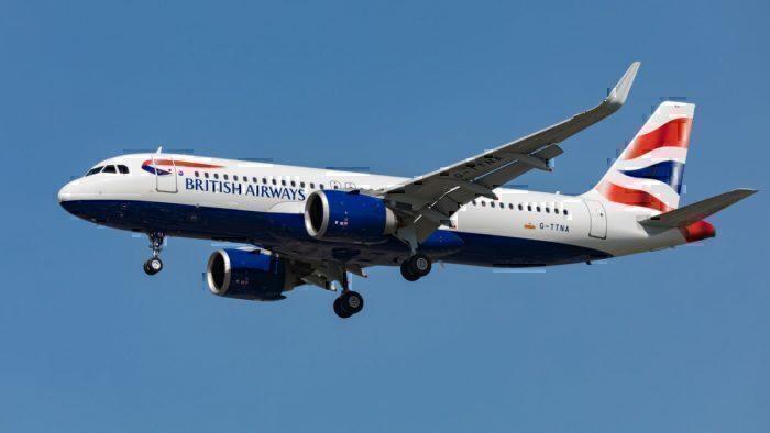 British Airways jet in flight
