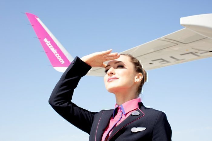 Wizz Air staff looking into the distance