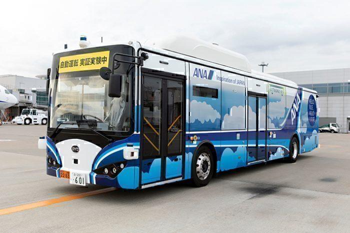 ANA autonomous electric bus on runway