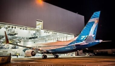 The first MAX 7 emerges from the paint hangar.