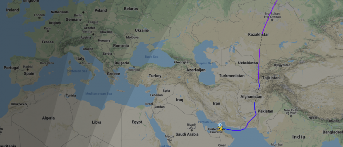 Route from UAE to Los Angeles, avoiding Iran