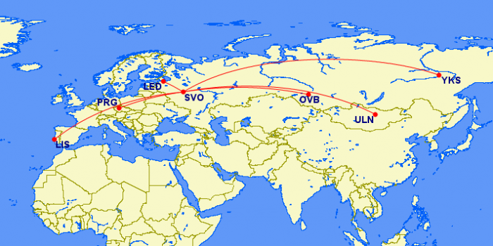 moscow to flight map