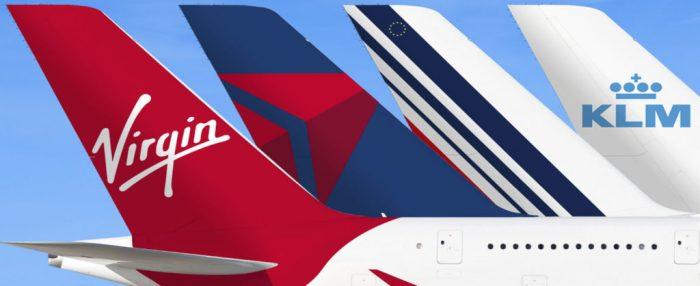 Virgin, Delta, AirFrance, KLM Tails