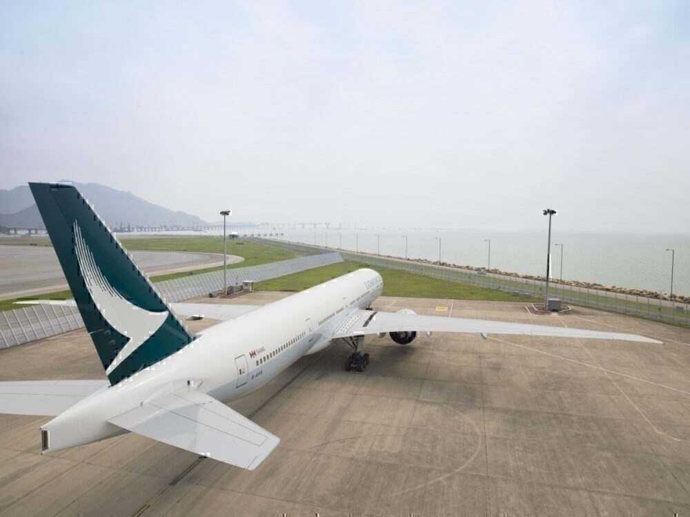 View of Cathay Pacific 777 aircraft from behind and above.