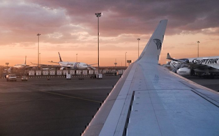 EgyptAir aircraft parked on the tarmac at Cairo International Airport outside the Egyptian capital.
