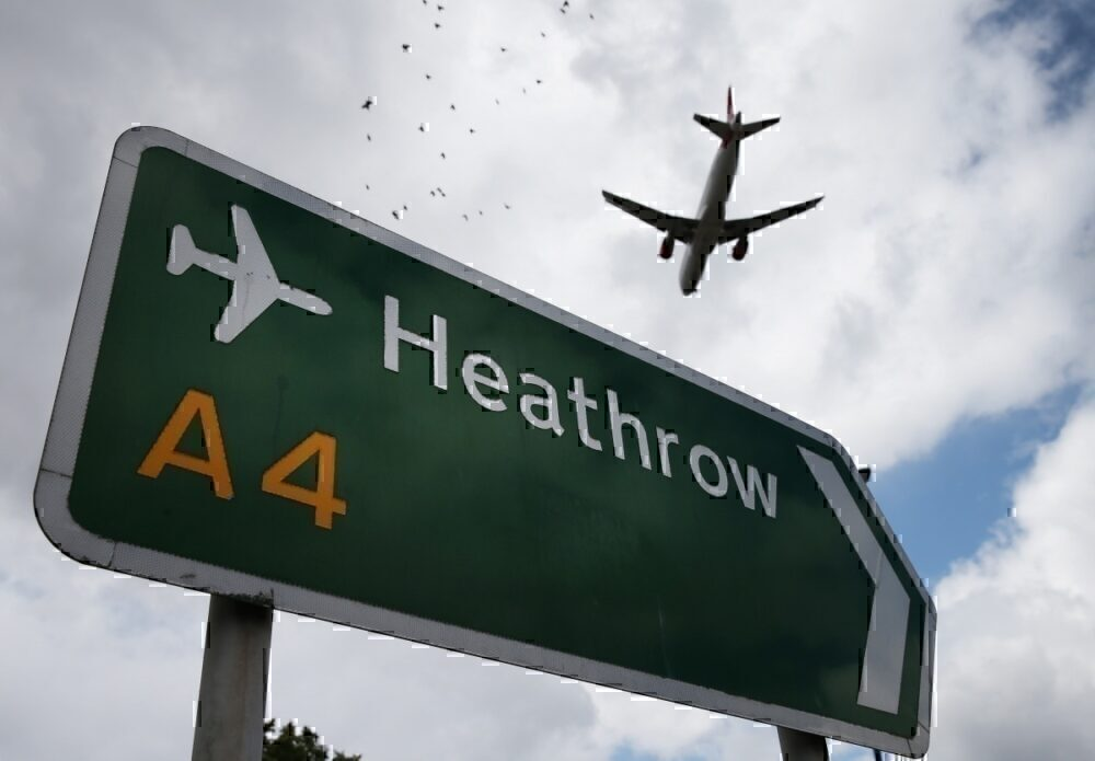 Heathrow airport sign with Airplane