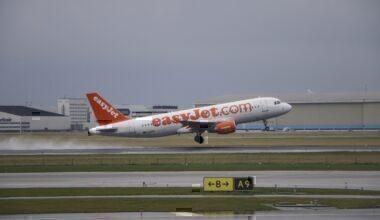 EasyJet airplanes as seen in Amsterdam airport and Polderbaan runway in March 2017.