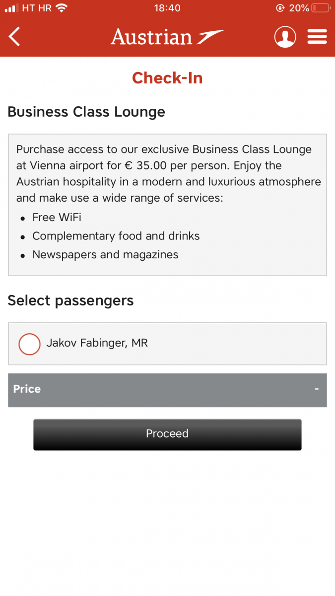 Austrian Airlines business class upgrade