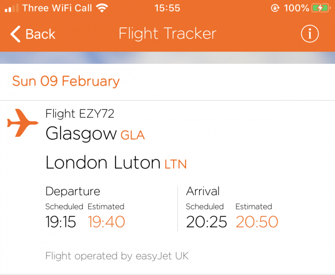 easyJet flight tracker delay