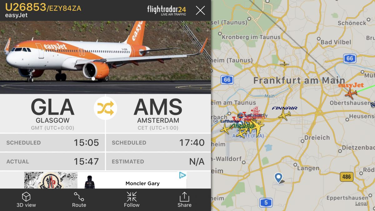 easyJet diverted flight Glasgow Amsterdam flight path