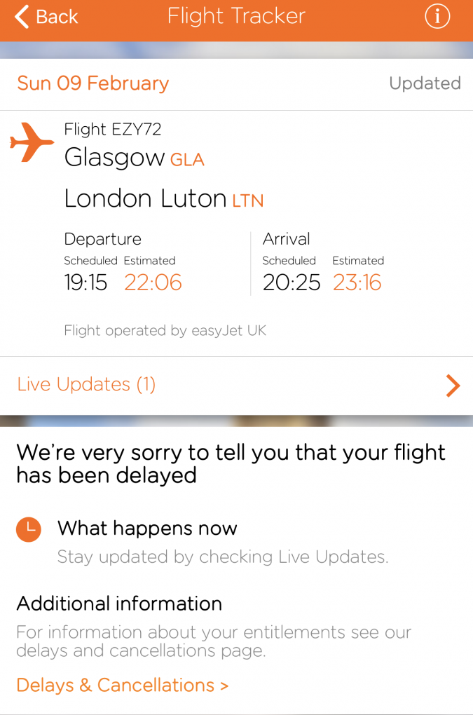 easyJet flight status diverted Glasgow Amsterdam