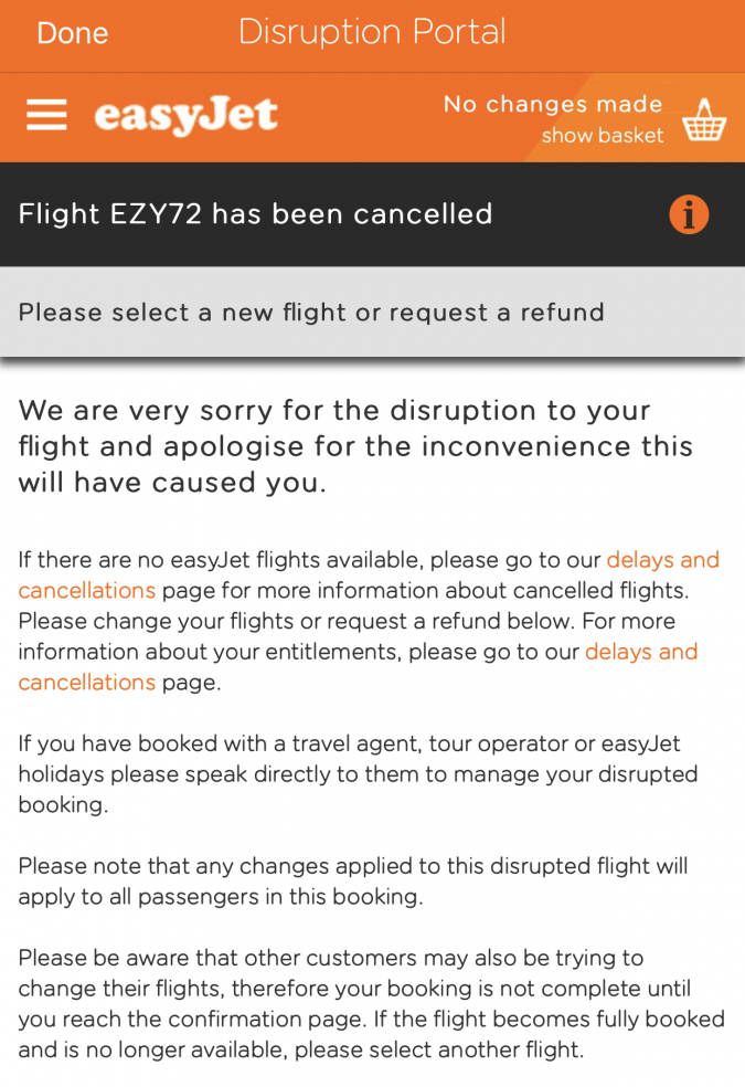 easyJet app flight cancelled
