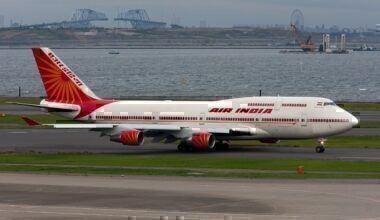 Air India One, a 747-400, takes off from Tokyo.