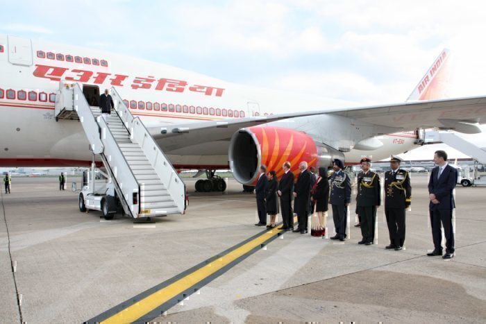 PM Modi arrives in the retrofitted 747-400, the current Air India One