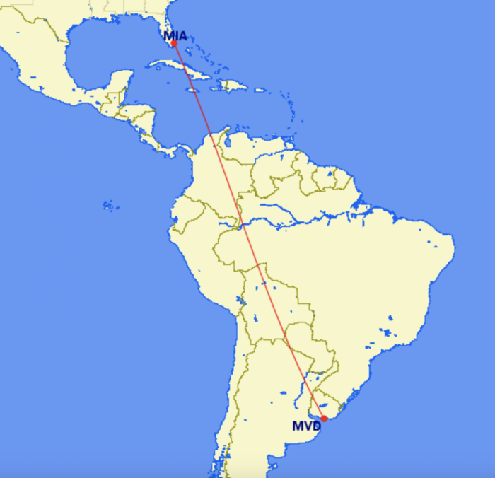 Miami to Montevideo