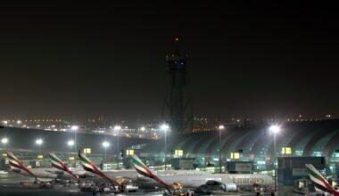 Dubai airport at night