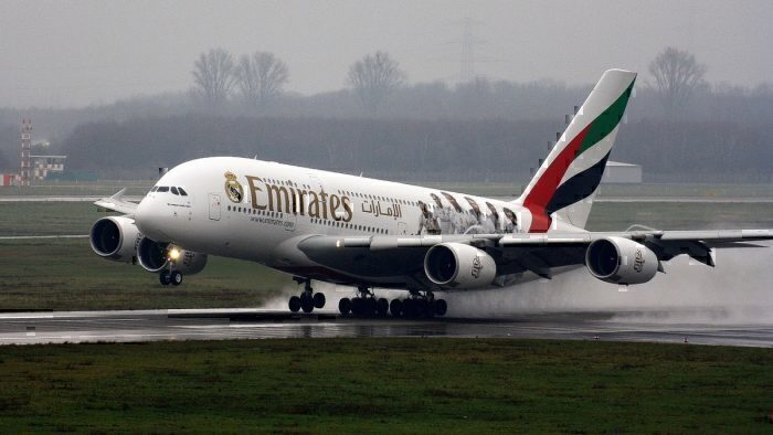 Emirates A380 landing in storm