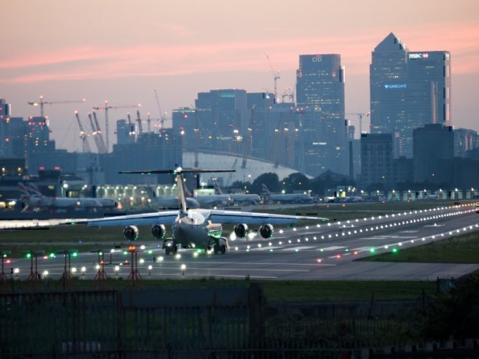 SAS aircraft takes off from London City Airport
