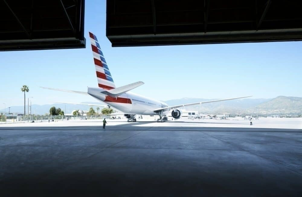 American Airlines B777 in the hangar
