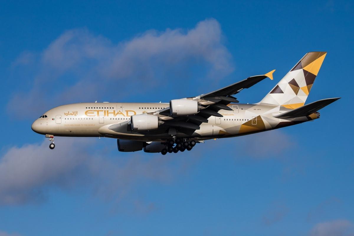Etihad A380 in flight