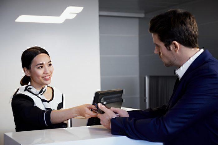 Finnair staff check-in
