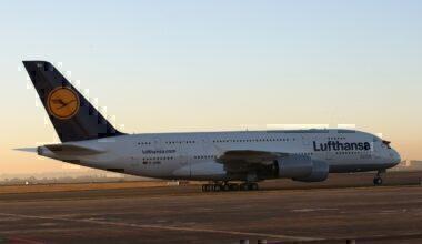 Lufthansa A380 at Johannesburg