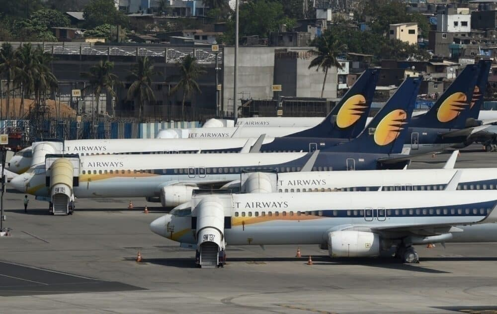 Jet airways grounded planes getty images