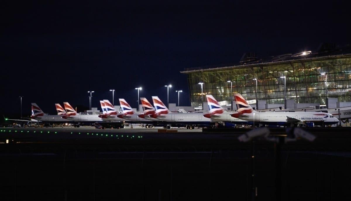 British Airways Heathrow aircraft line up