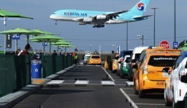 A Korean Air plane lands as taxis are lined up at the new 'LAX-it' ride-hail passenger pickup lot at Los Angeles International Airport