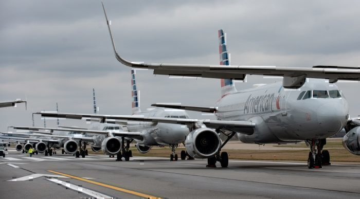 Grounded American Airlines aircraft