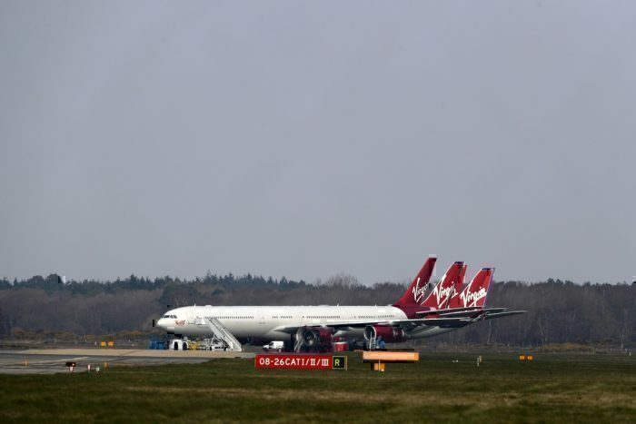 Virgin Atlantic grounded plane bournemouth getty images