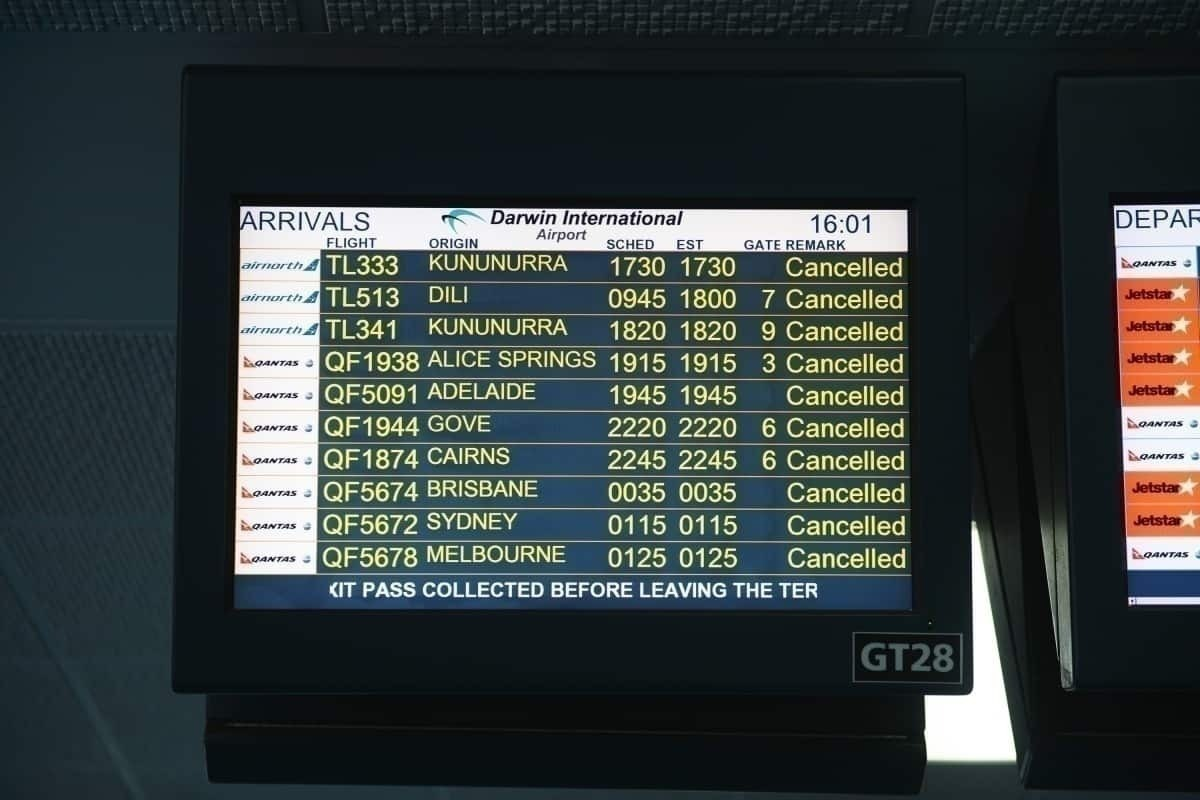 Cancelation board, domestic Australia