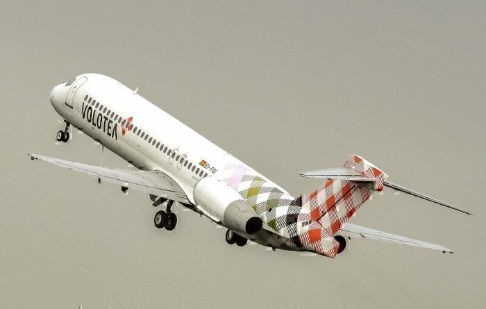 A Boeing 727 Volotea aircraft takes off from Lille Airport in Lesquin
