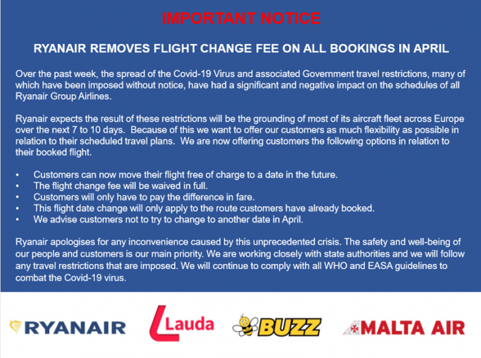 Ryanair, Coronavirus, Flight Suspension