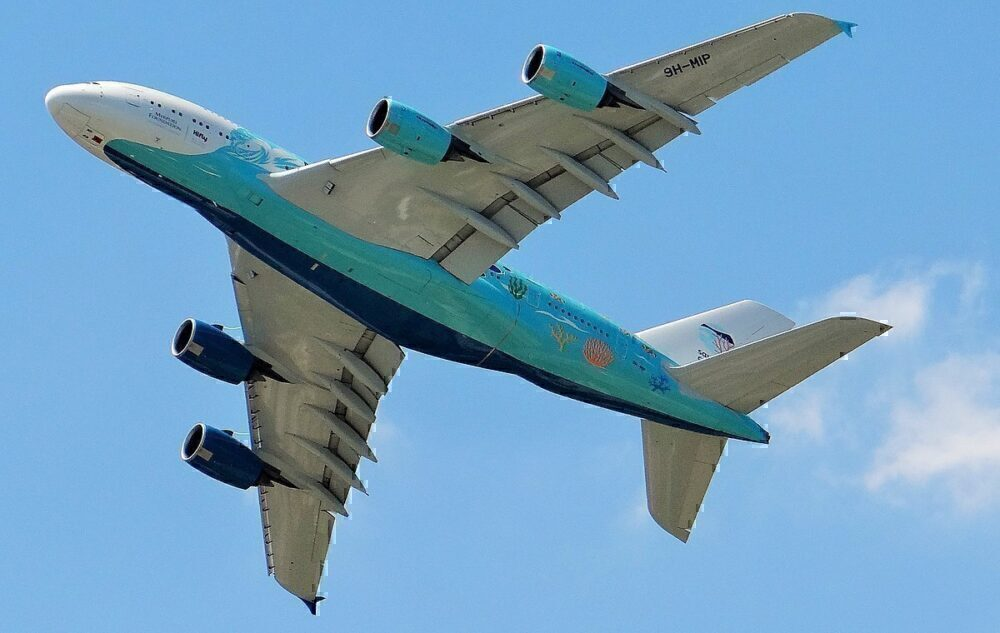 A380 9H-MIP flying