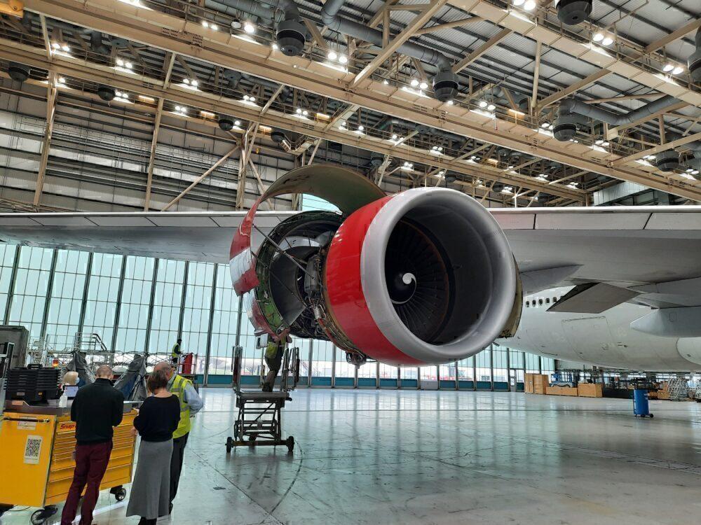 Virgin Atlantic Boeing 747 Engine Maintenance Hangar London Heathrow