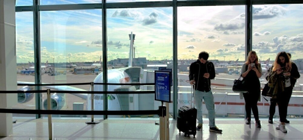 Passengers waiting for BA flight